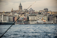 Dusk over Istanbul: Bosphorus, Galata Bridge and the Mosques